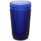 Blue Ribbed & Dotted Glass Cup