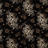 Black Zephyr Floral Cotton Calico Fabric