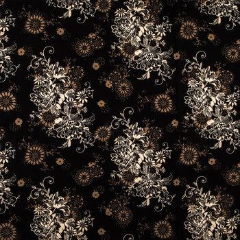 Black Zephyr Floral Cotton Calico Fabric