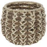 Natural & Brown Round Woven Basket