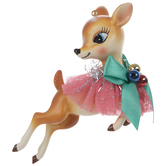 Deer Ballerina With Blue Bow Ornament