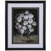 Pink & White Flower Vase Framed Wall Decor