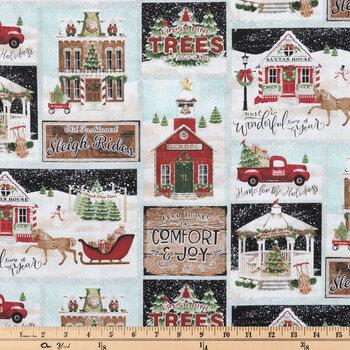 Vintage Christmas Town Cotton Fabric