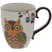 Brown & White Chevron Owl Mug