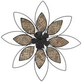Natural Weave & Black Metal Flower Wall Decor