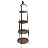 Brown & Black Round Four-Tiered Wood Shelf