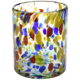 Multi-Color Dotted Glass Vase