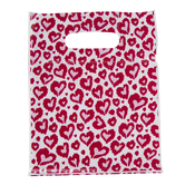 Red & Pink Heart Zipper Bags With Handles