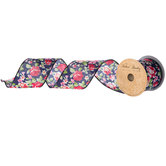 """Navy & Red Floral Wired Edge Ribbon - 2 1/2"""""""