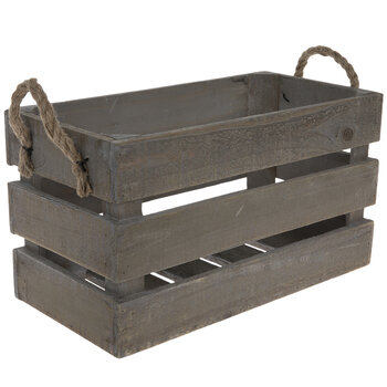Natural Wood Crate with Rope Handles - Large