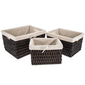 Brown Rectangle Wood Basket Set With Lining