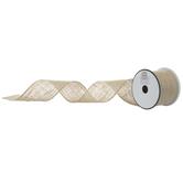"Natural Wired Edge Burlap Ribbon - 2 1/2"""