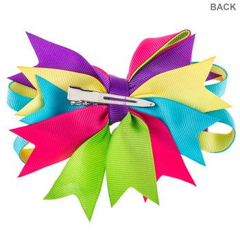 Rainbow Chunky Boutique Bow Hair Clip