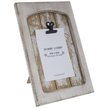 """White Distressed Wood Clip Frame - 4"""" x 6"""""""