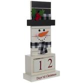 Days 'Til Christmas Snowman Wood Decor