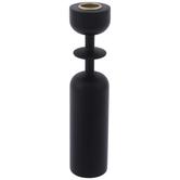Black Round Wood Candle Holder