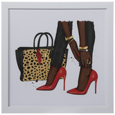 Red Stilettos & Cheetah Purse Framed Wall Decor
