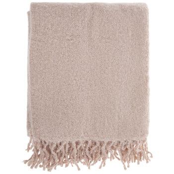 Fringe Faux Mohair Throw Blanket