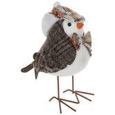 Brown Plaid Tweed Bird
