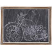 Motorcycle Chalk Sketch Wood Wall Decor
