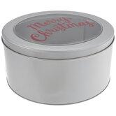 Merry Christmas Window Round Tin Box