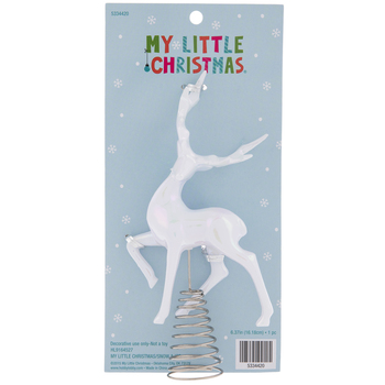 Mini Iridescent White Reindeer Tree Topper