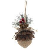 Burlap Acorn Ornaments