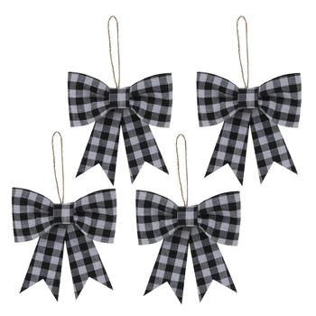 Black & White Buffalo Check Bow Ornaments