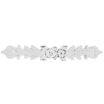 White Distressed Floral Metal Pull