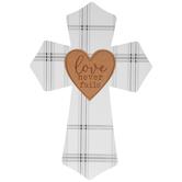 Love Never Fails Wood Wall Cross