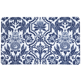 Navy Blue & White Floral Doormat