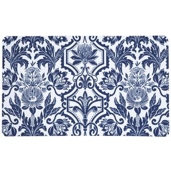 Navy Blue & White Floral Doormat
