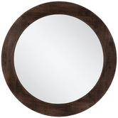 Dark Brown Round Wall Mirror