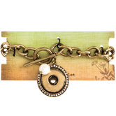"""Chain Snap Bracelet With Imitation Pearl Dangle - 7 1/2"""""""