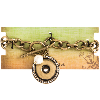 Chain Snap Bracelet With Imitation Pearl Dangle - 7 1/2""