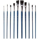 Black Taklon Acrylic & Watercolor Paint Brushes - 10 Piece Set