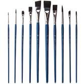 Black Taklon Acrylic & Watercolor Paint Brushes - 10 Piece Set
