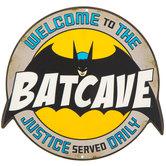 Batcave Embossed Die Cut Metal Sign