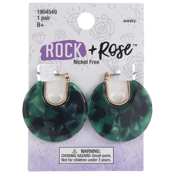 Green Marble Round Earrings
