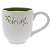 White & Green Blessed Mug