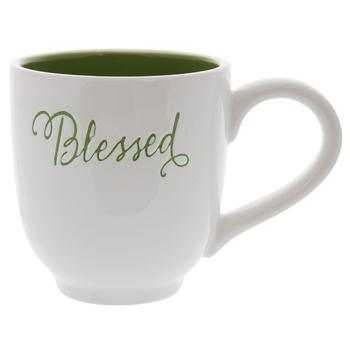 White & Green Blessed Mug