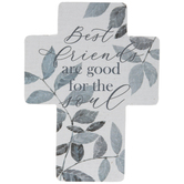 Best Friends Leaf Wood Wall Cross