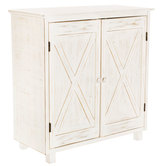 White Distressed Wood Farmhouse Cabinet