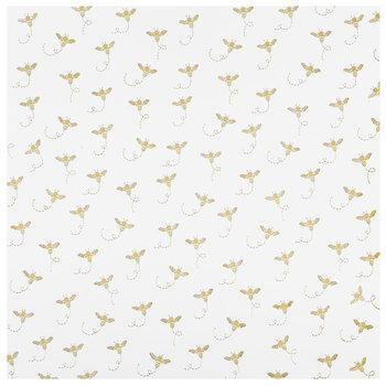 """Gold Bees Foil Scrapbook Paper - 12"""" x 12"""""""