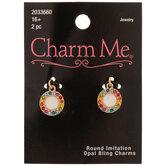 Round Imitation Opal Rhinestone Charms