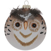 Flat Feathered Owl Ornament