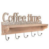 Coffee Time Wood Wall Shelf With Hooks
