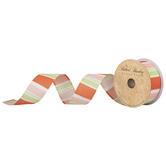 "Orange, Peach & Green Striped Wired Edge Ribbon - 1 1/2"""