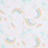 Pastel Rainbows & Clouds Gauze Fabric