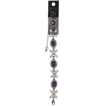 Flower & Oval Rhinestone Bracelet